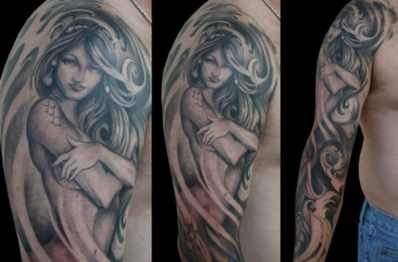 Japanese Black And Grey Sleeve Tattoos For Men