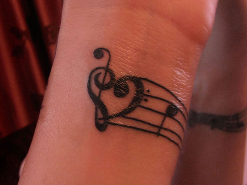 Music Clef Heart Tattoos