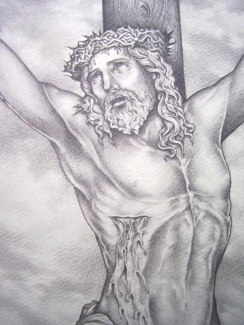 Pencil drawing of jesus on the cross tattoo