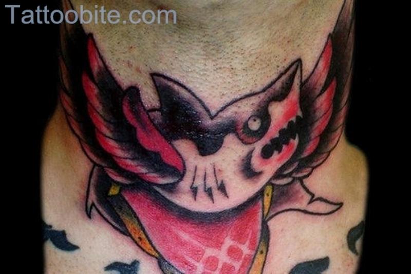 Shark Tattoo On Neck