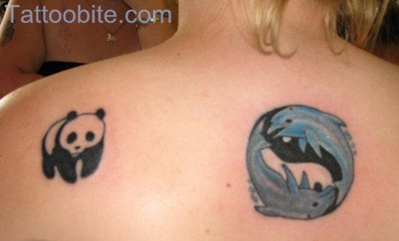 Small Panda Tattoo On Back