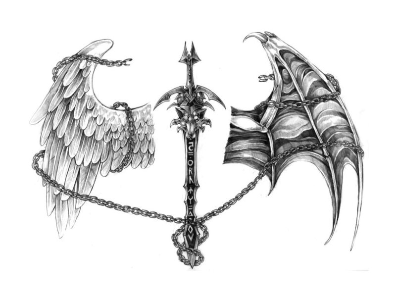 Sword With Wings Tattoos