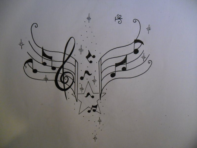 Tattoos Of Music Notes Designs