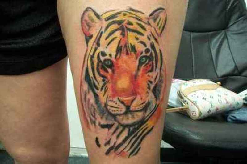Tiger Tatto on Thigh