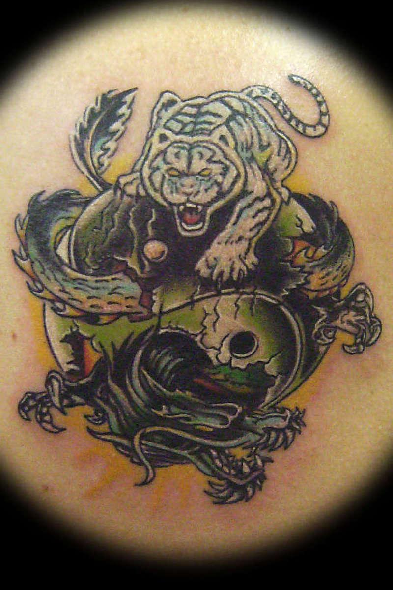Фото тату тигр и дракон фото