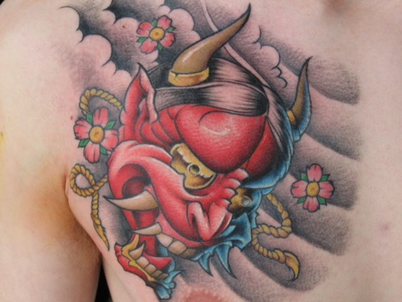 Traditional Japanese Mask Tattoos