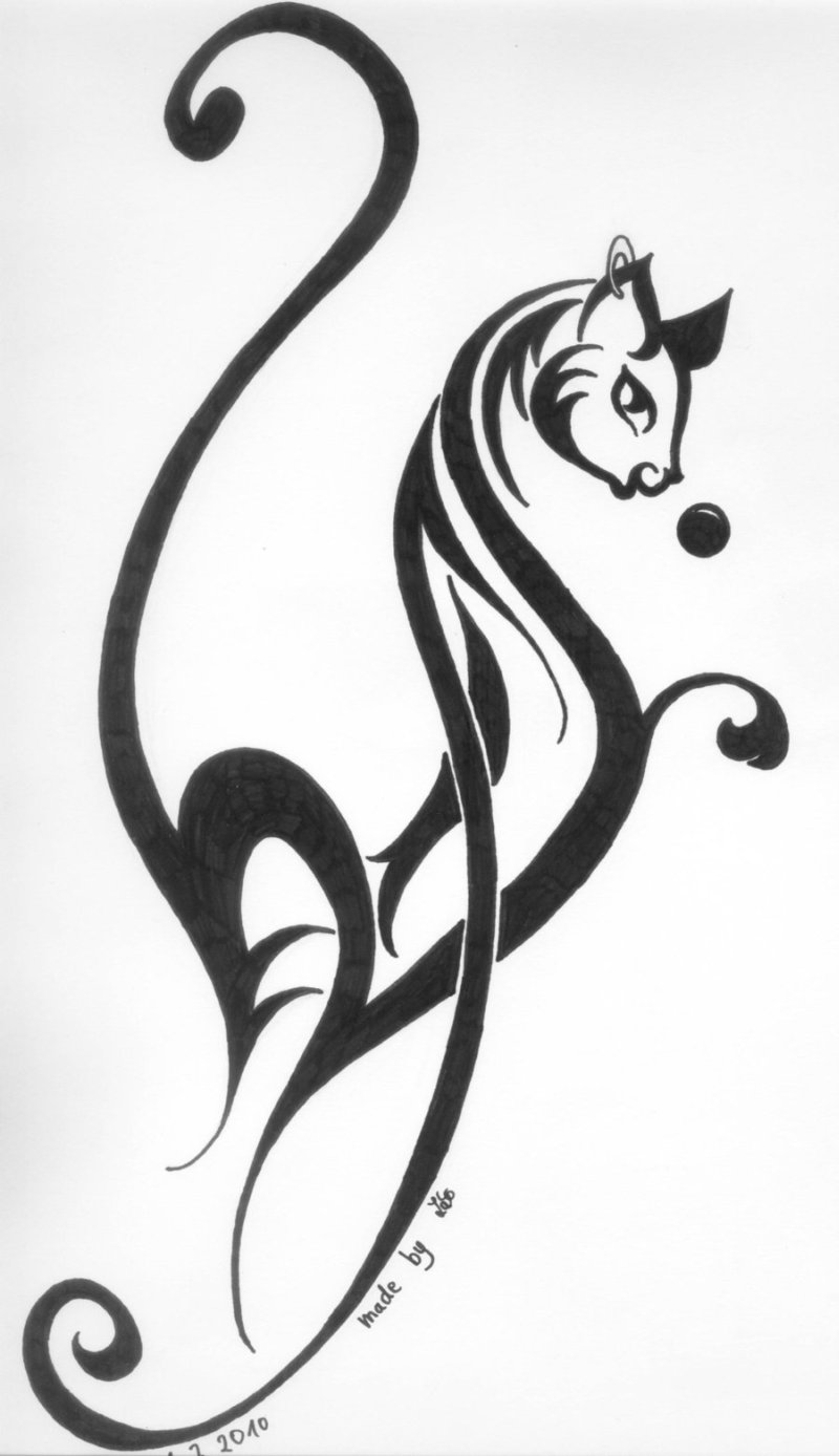 Tribal Cat Tattoos Designs