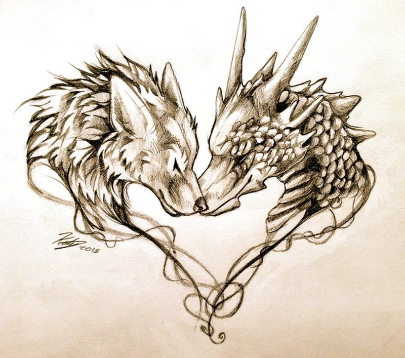 Wolf And Dragon Tattoos