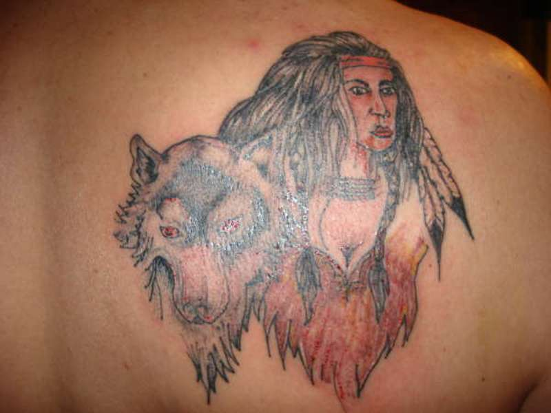 Wolf And Indian Tattoos