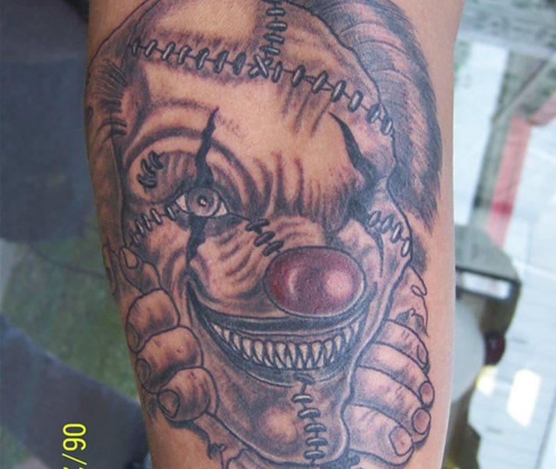 A bad clown tattoo