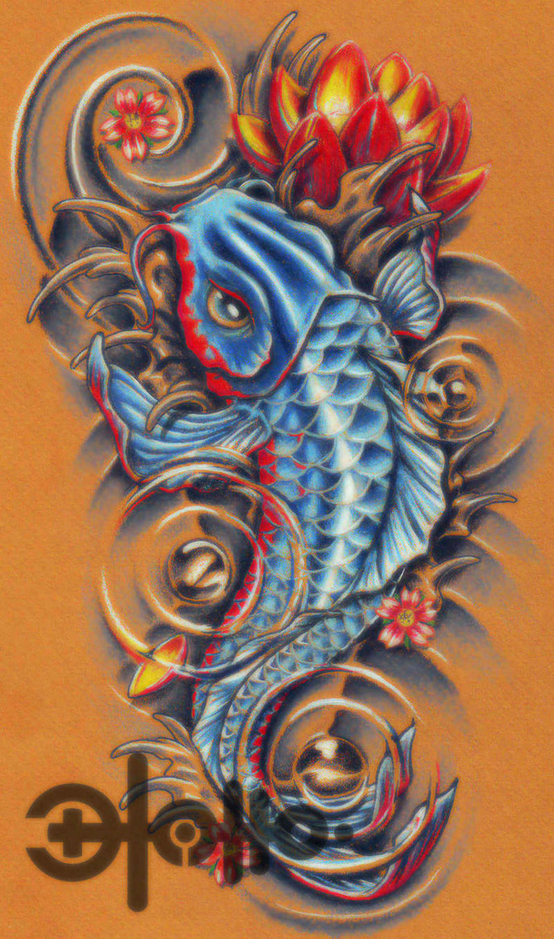 A blue koi fish tattoo poster tattoos book for Blue coy fish tattoo