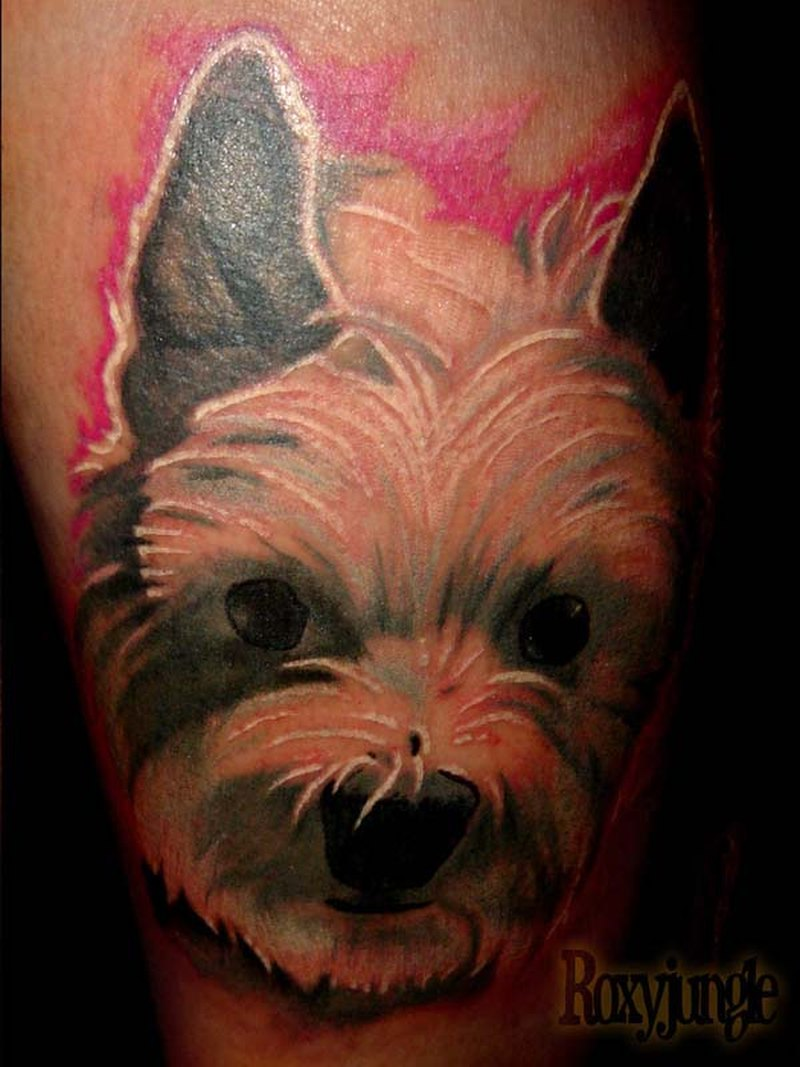 A dog face tattoo design