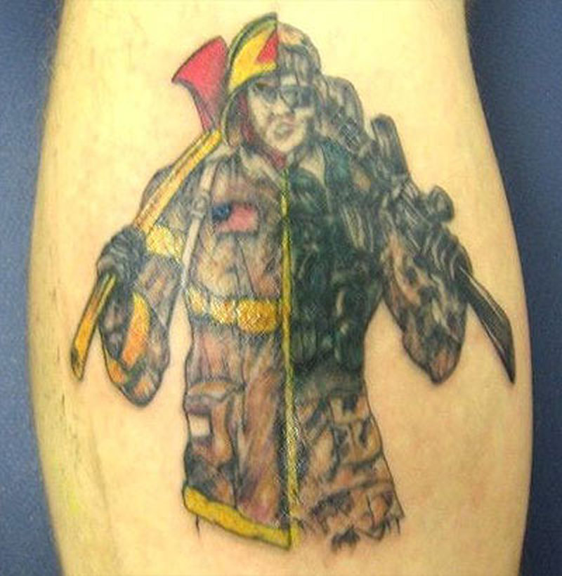 A firefighter tattoo design