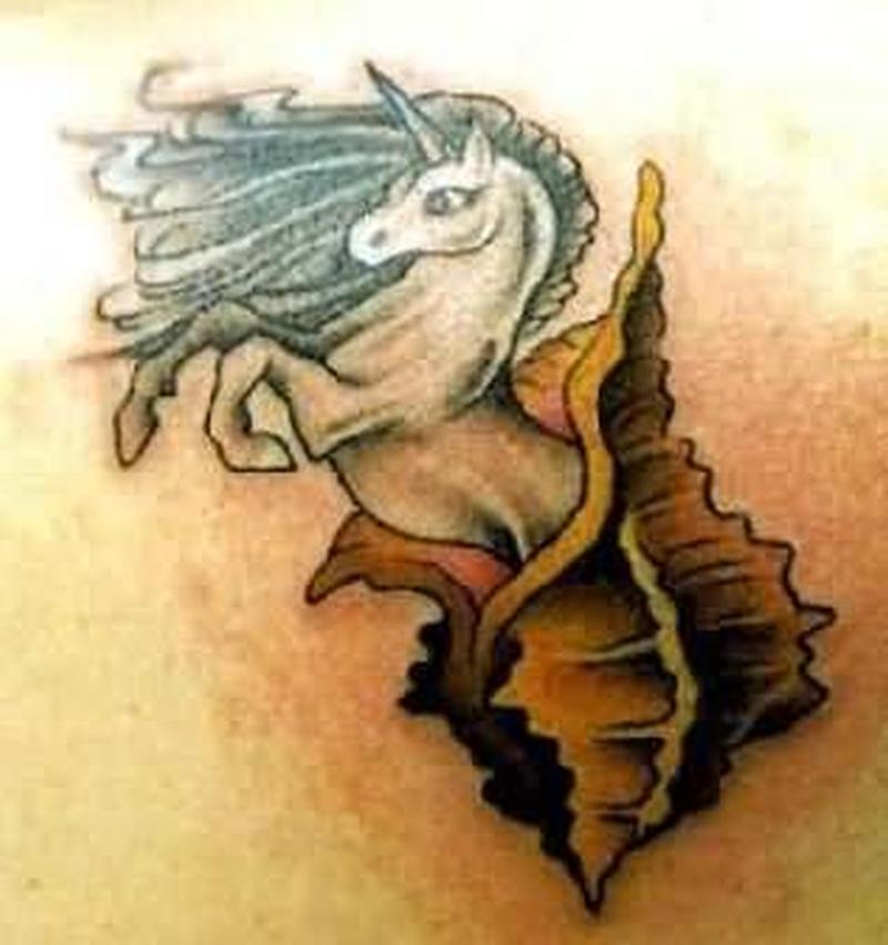 A unicorn fantasy tattoo