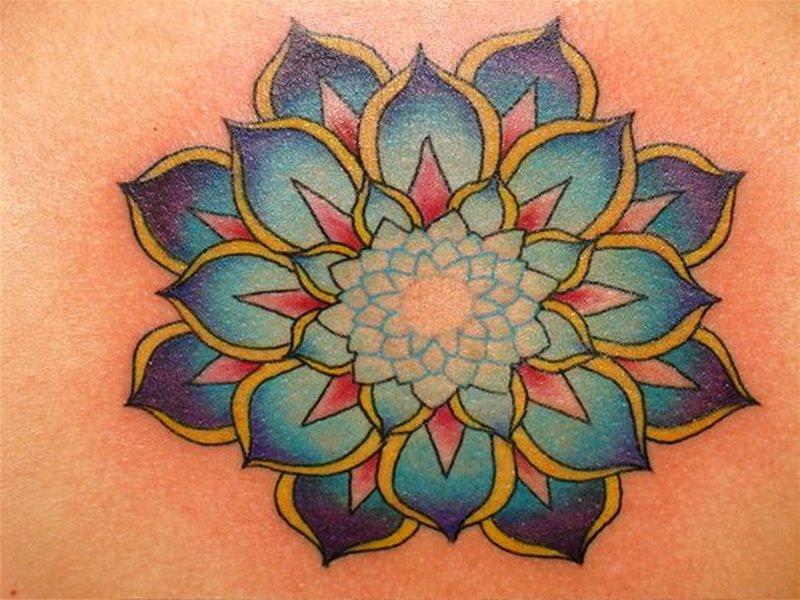 A very beautiful lotus flower tattoo design