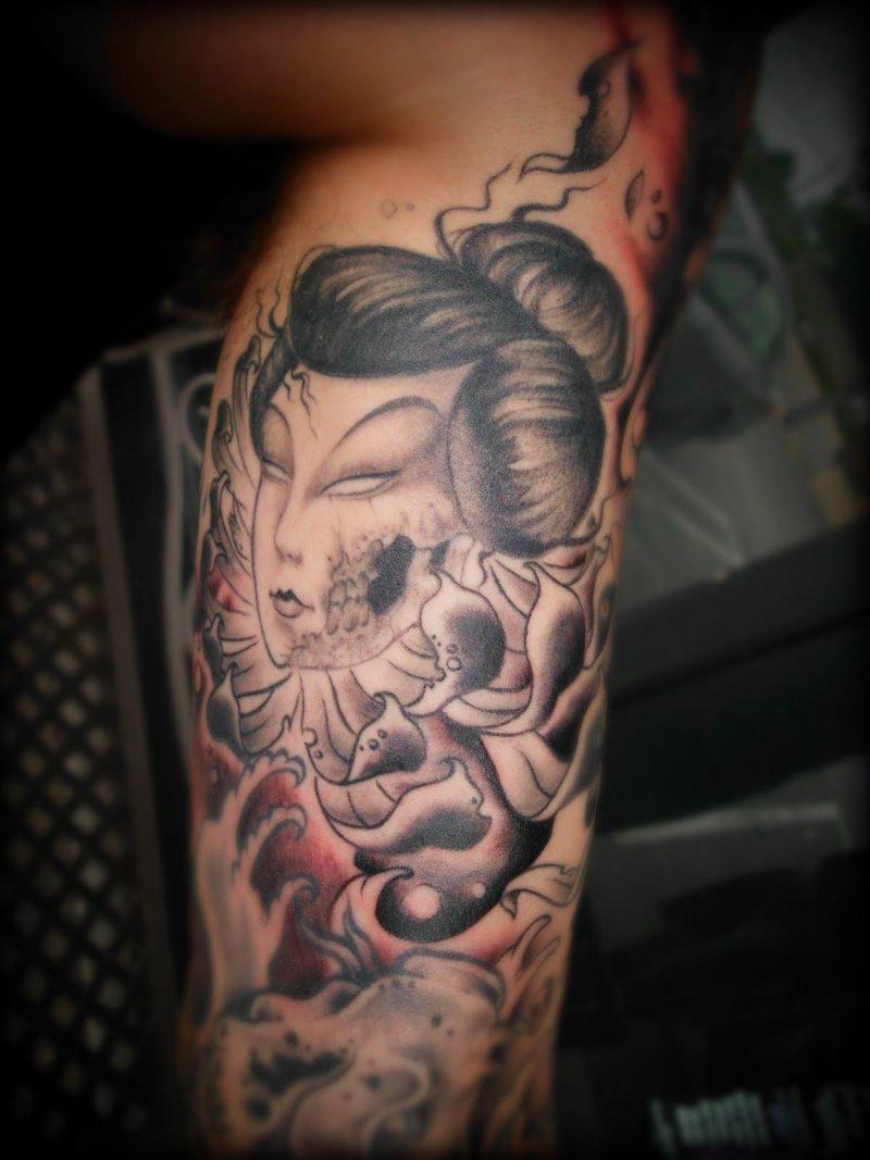 A zombie geisha tattoo design
