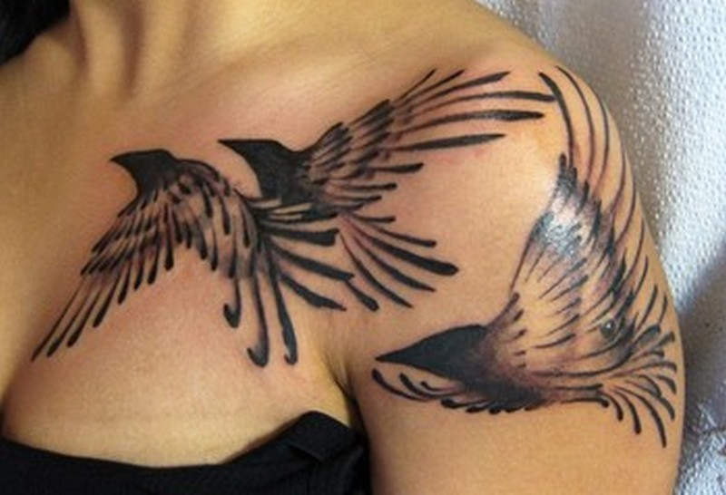 Abstract birds tattoo