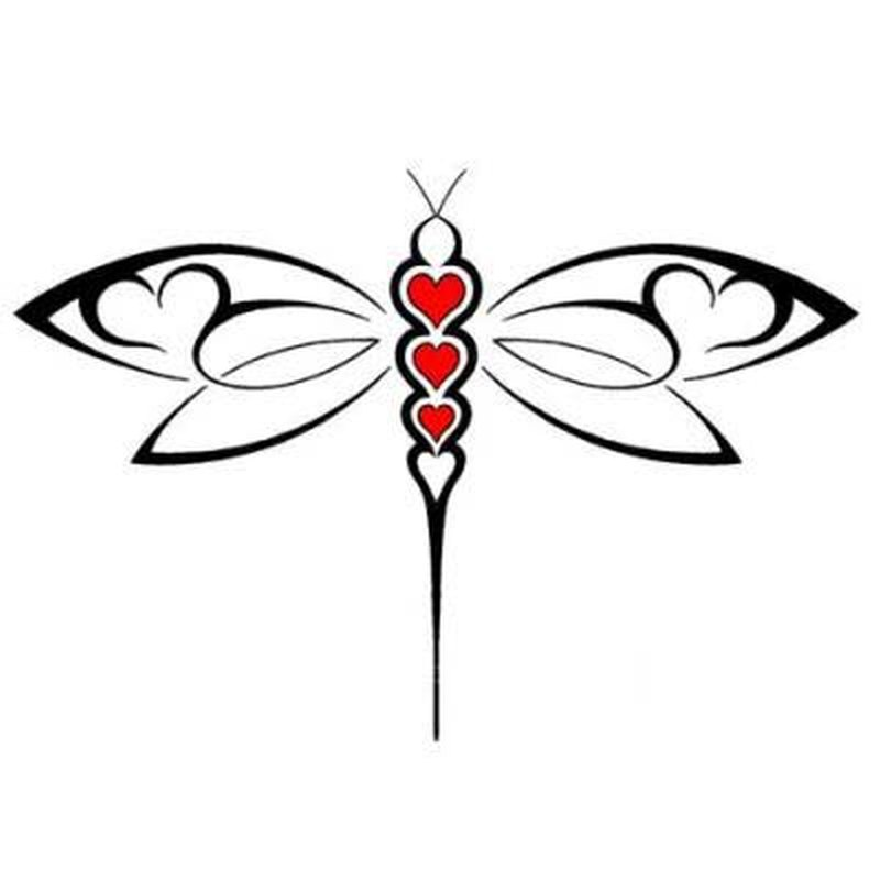 Abstract dragonfly with hearts tattoo design - Tattoos Book - 65.000 ...