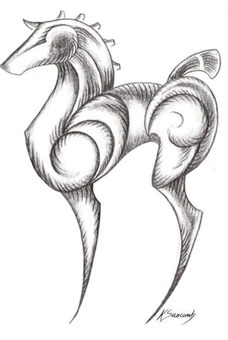 Abstract horse katherine tattoo design