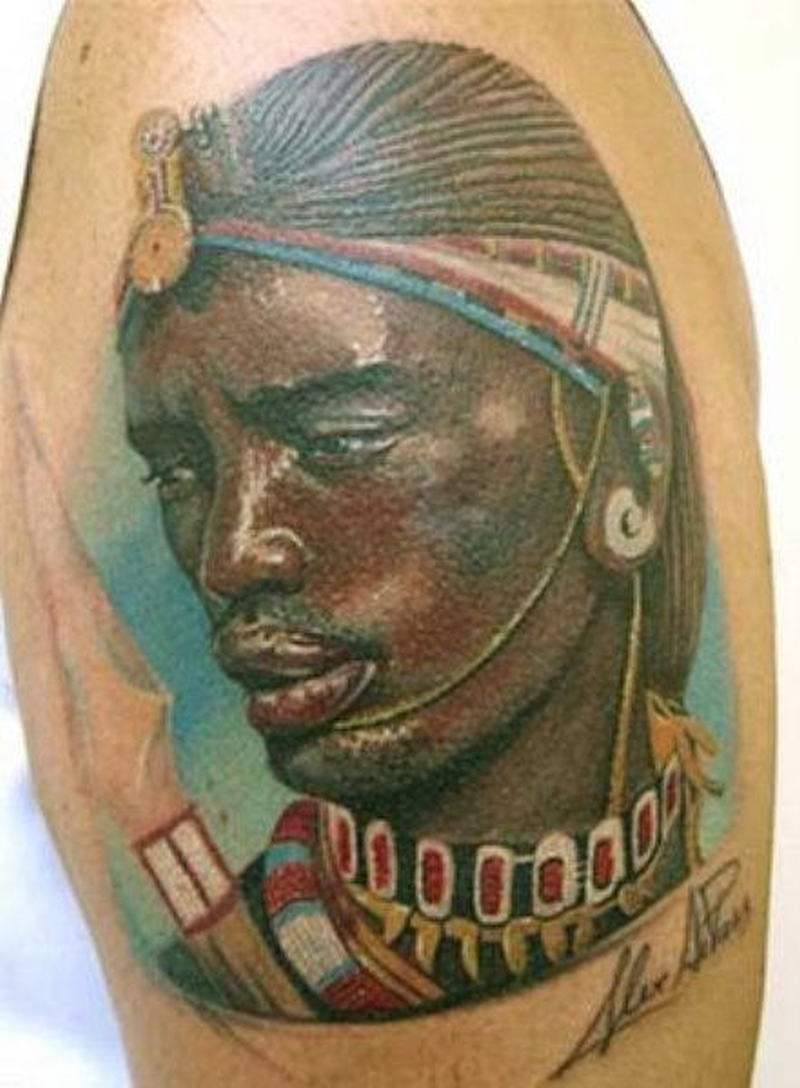 African man face tattoo