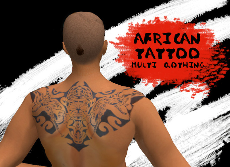 African mask tattoo on upper back