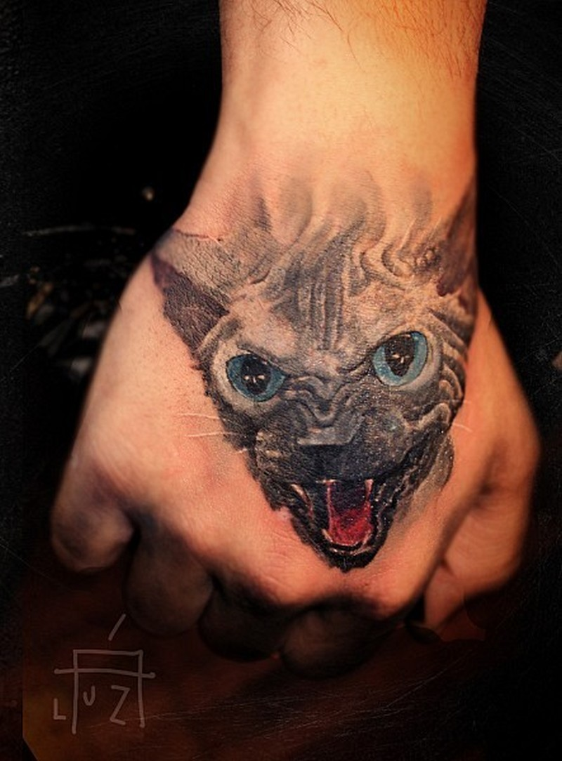 aggressive black cat tattoo on hand tattoos book tattoos designs. Black Bedroom Furniture Sets. Home Design Ideas