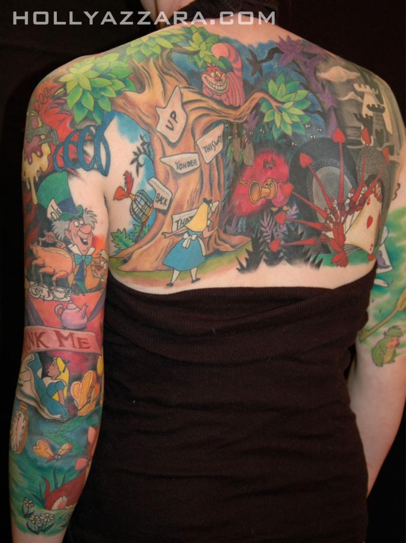 Alice in wonderland cartoon tattoo design