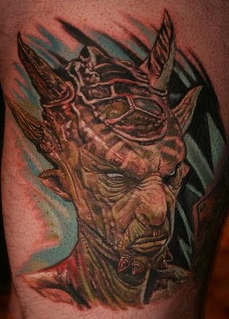 Alien creature portrait tattoo