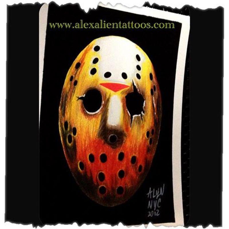 Alien mask tattoo design