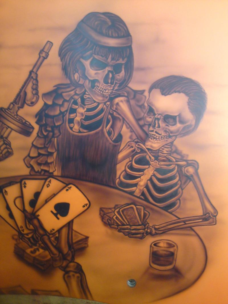 Alien skull playing gambling tattoo