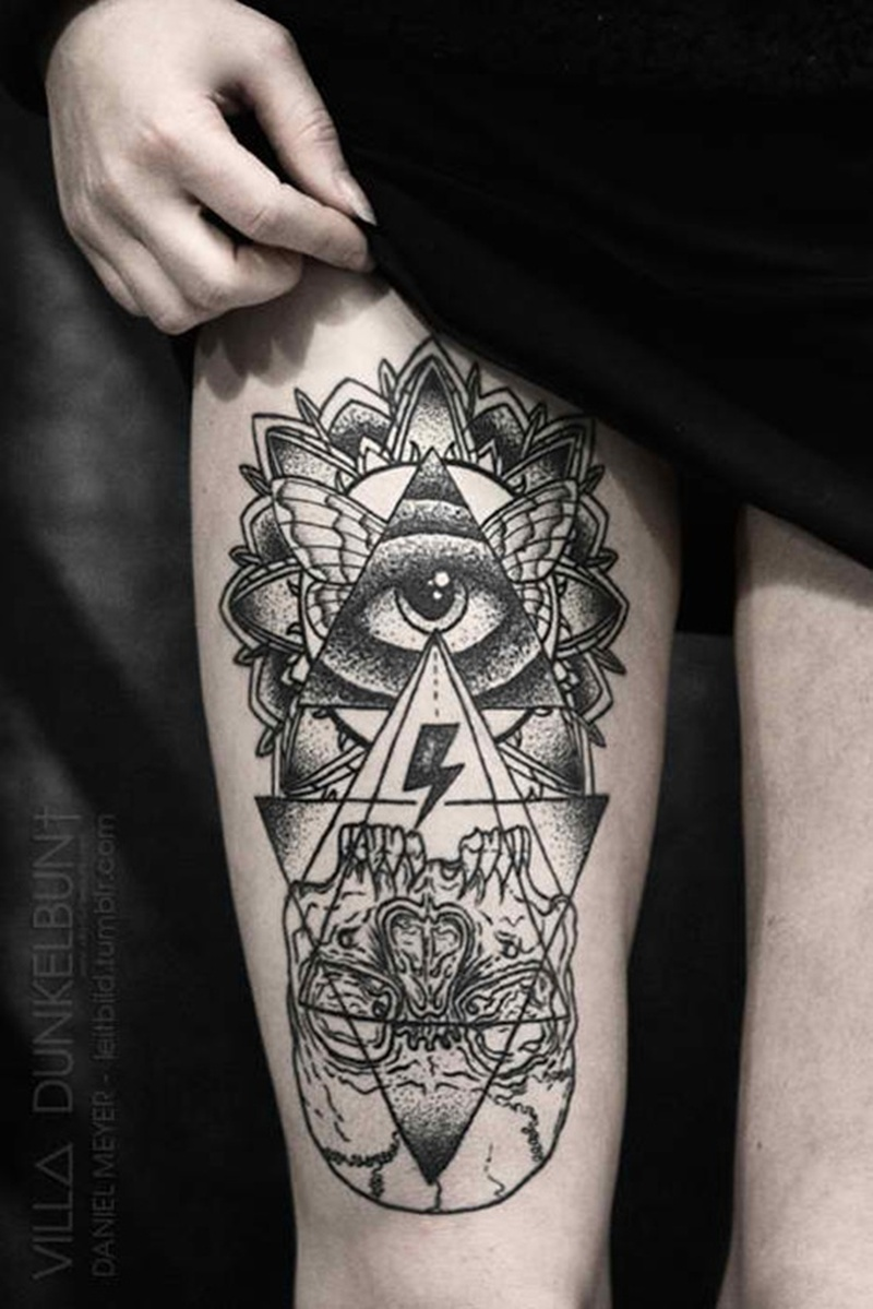 All seeing eye tattoo on right thigh tattoos book 65 for Tattoos in the eye