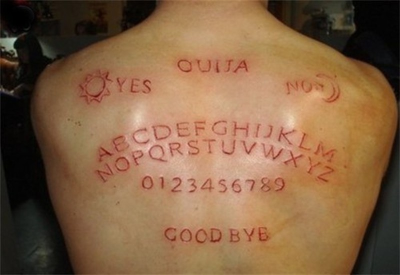 Alphabet and words skin scarification on back tattoo