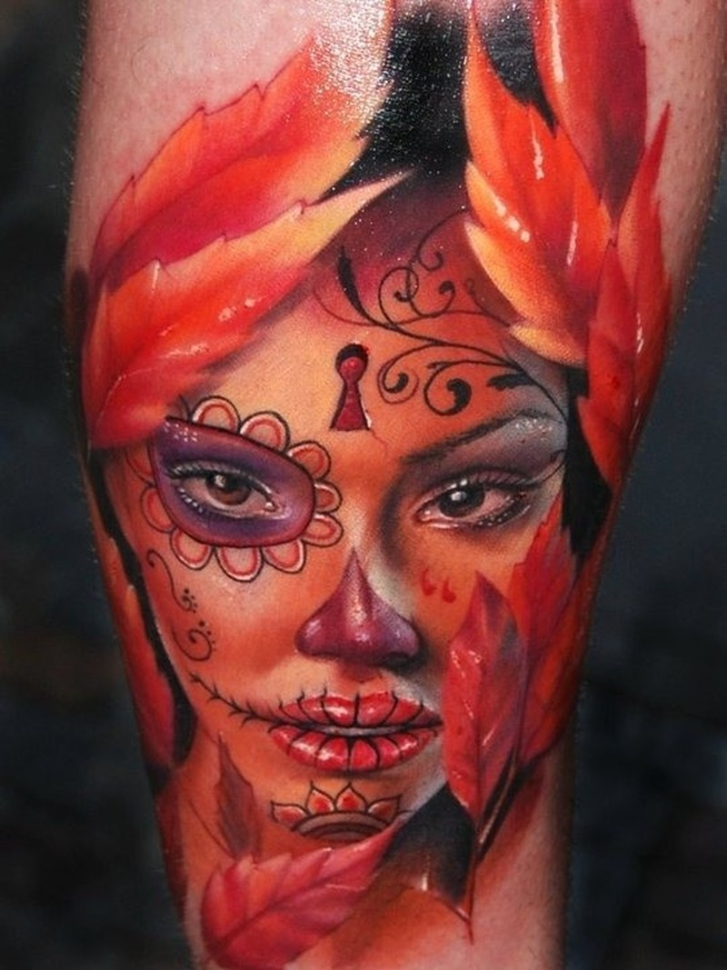 Amasing beautiful santa muerte with red autumn leaves tattoo