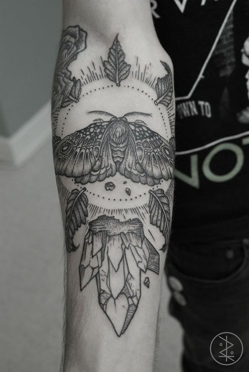 Amasing black gray deat head forearm tattoo