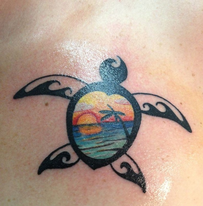Amasing black ink turtle with sunset tattoo