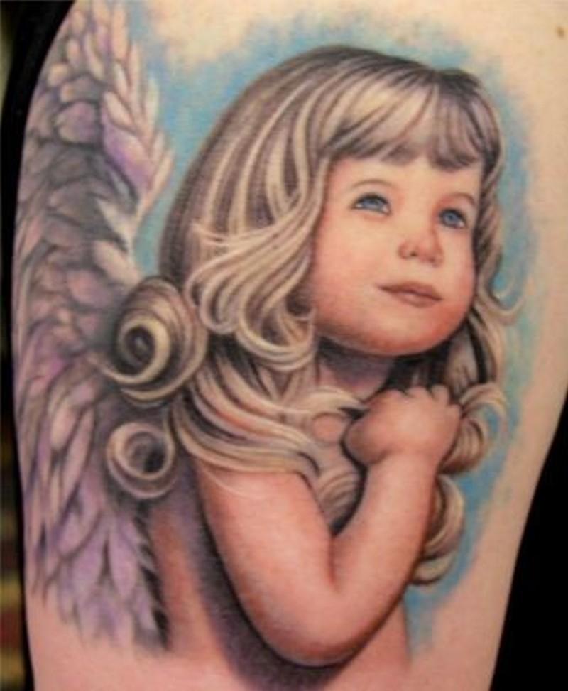 Amasing colorful blonde girl cherub tattoo