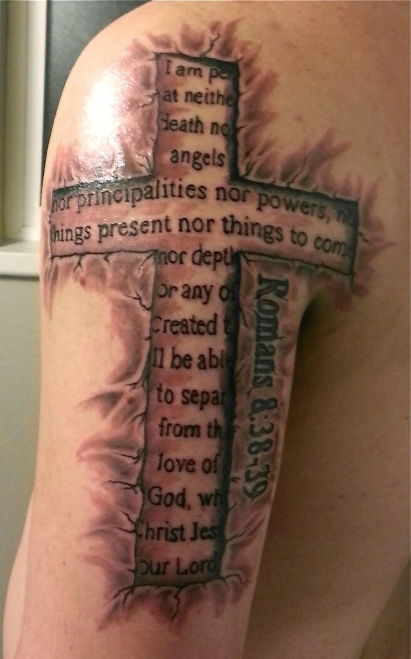 Amasing cross with biblical quotes tattoo on half sleeve