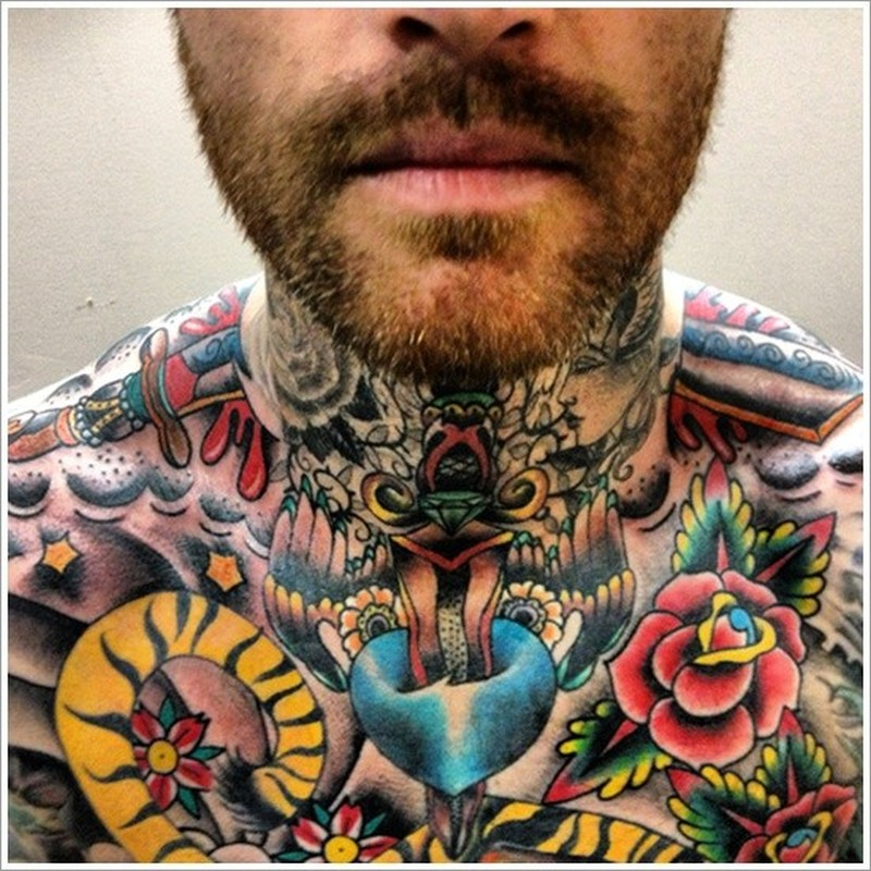 Amasing daggers pierce skin tattoo on neck