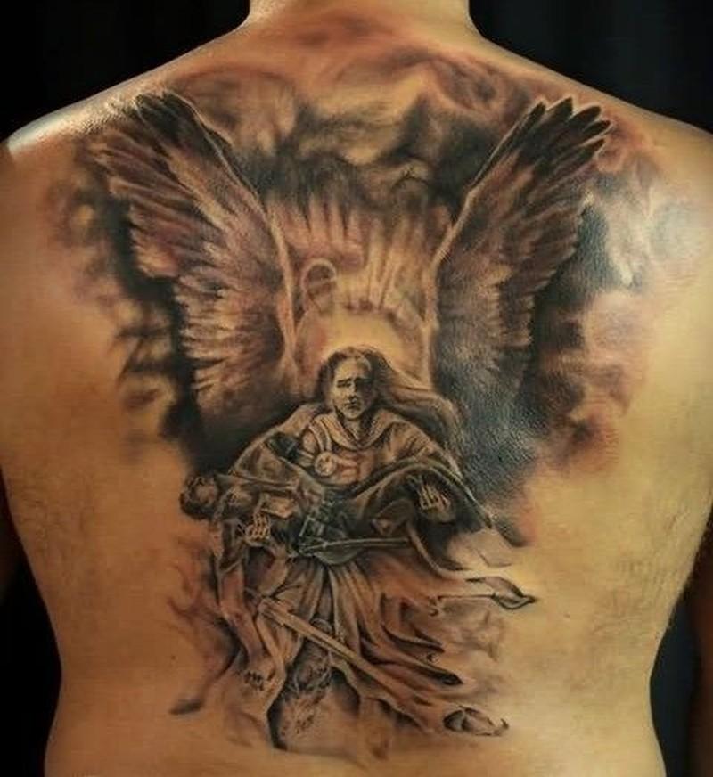 Amasing great angel savior tattoo on back