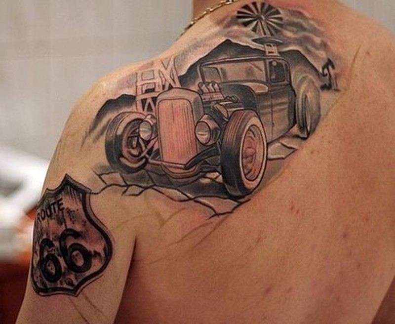 Amasing old car on road tattoo on shoulder