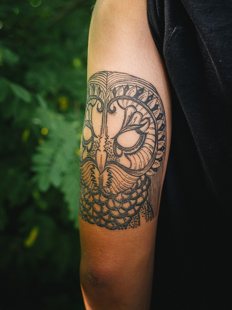 Amasing owl tattoo on half sleeve