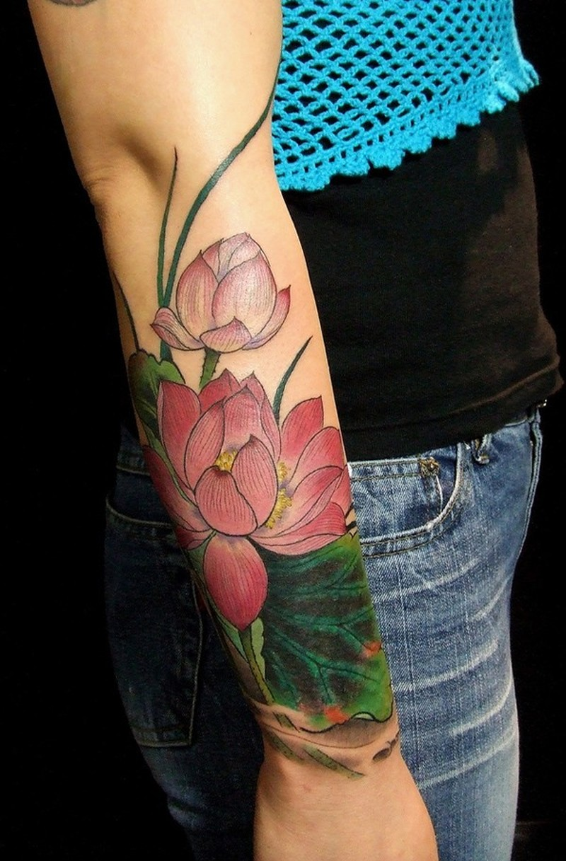 Amasing pink lotuses forearm tattoo