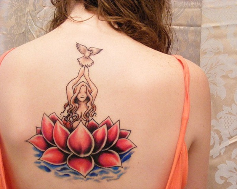 Amasing red lotus and girls with dove tattoo on back