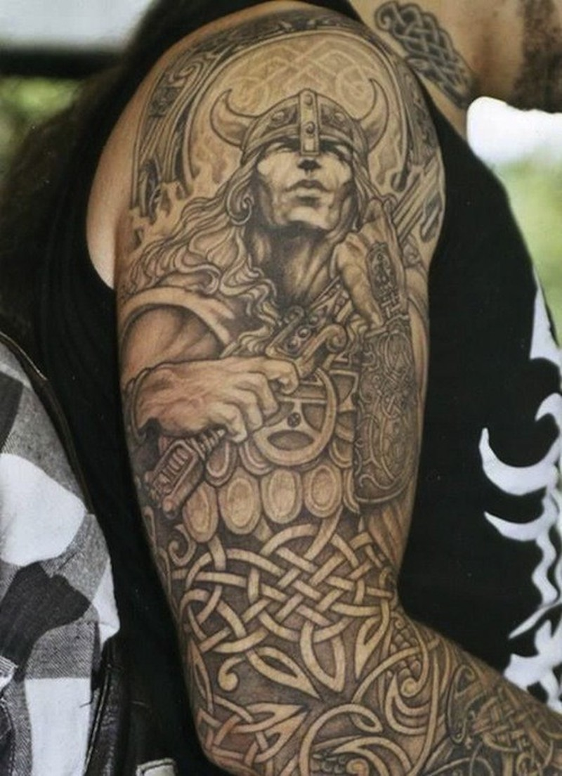 Amasing viking and celtic patterns tattoo on arm