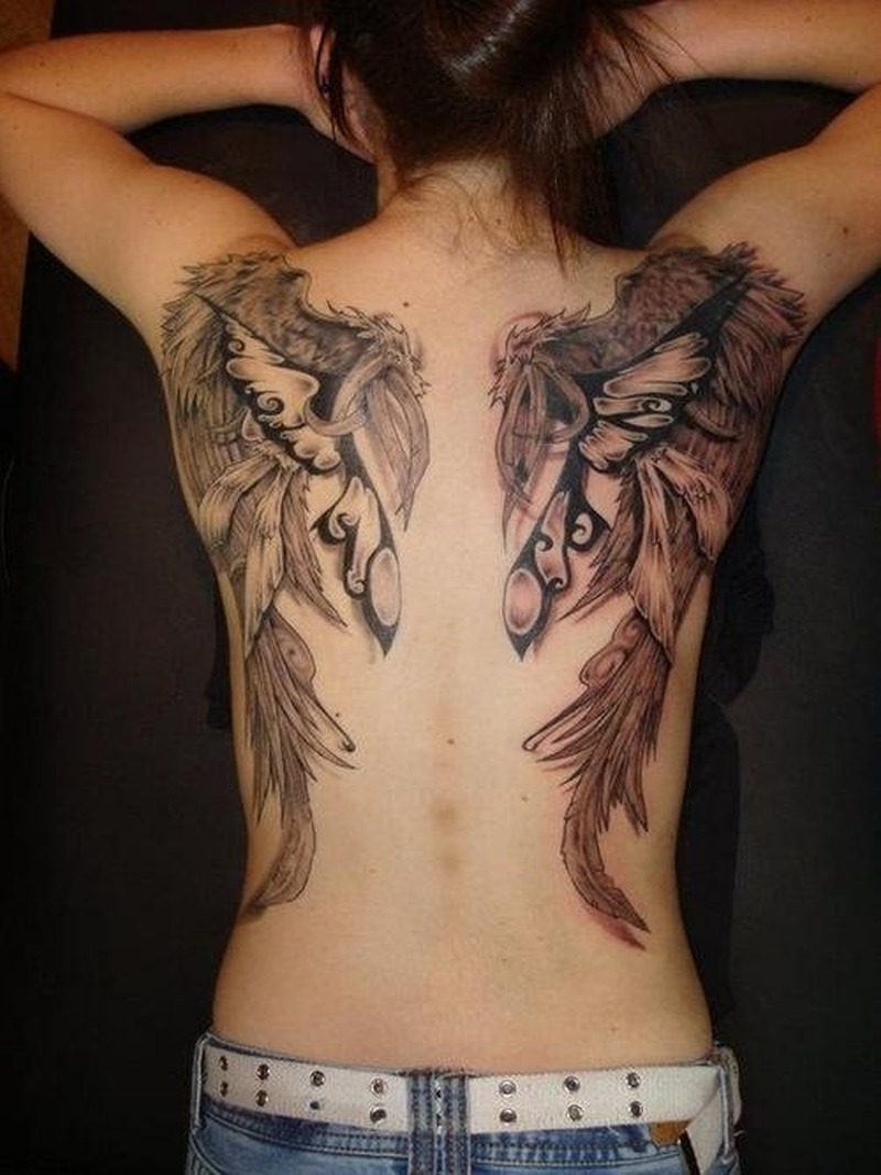 amazing angel wings tattoo on girls back tattoos book tattoos designs. Black Bedroom Furniture Sets. Home Design Ideas
