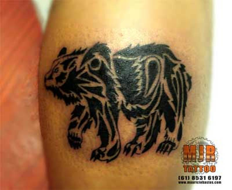 Amazing black ink bear tattoo design