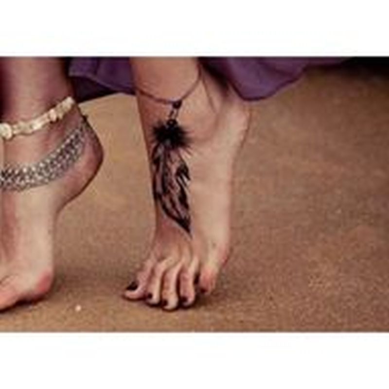 Amazing feather bracelet ankle tattoo