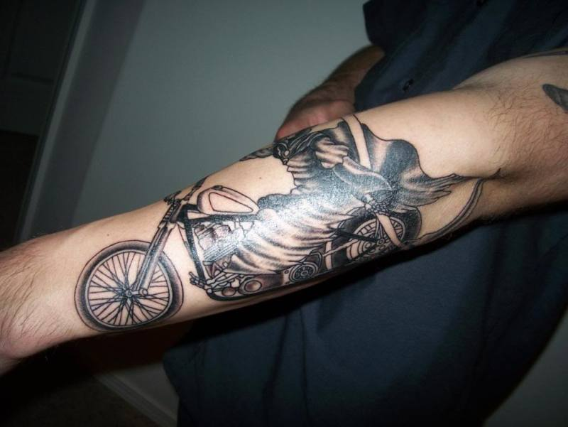 Amazing forearm bike tattoo design