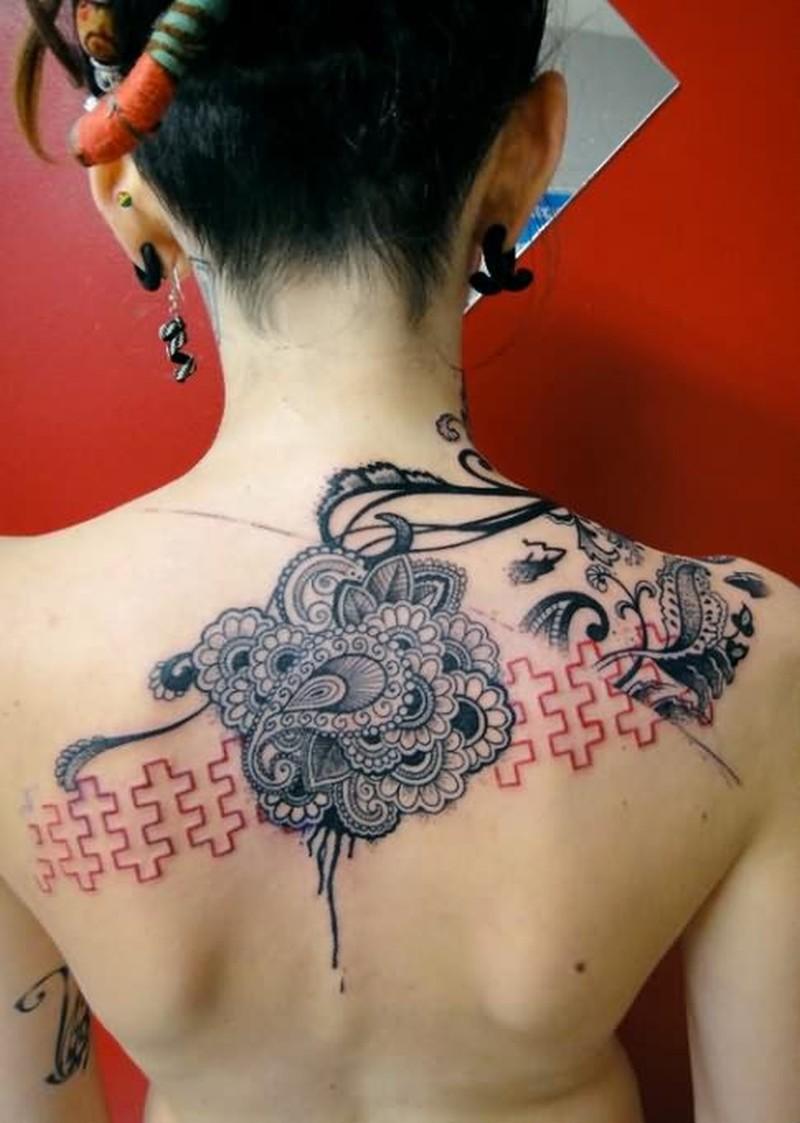 Amazing gothic tattoo design on back of girl