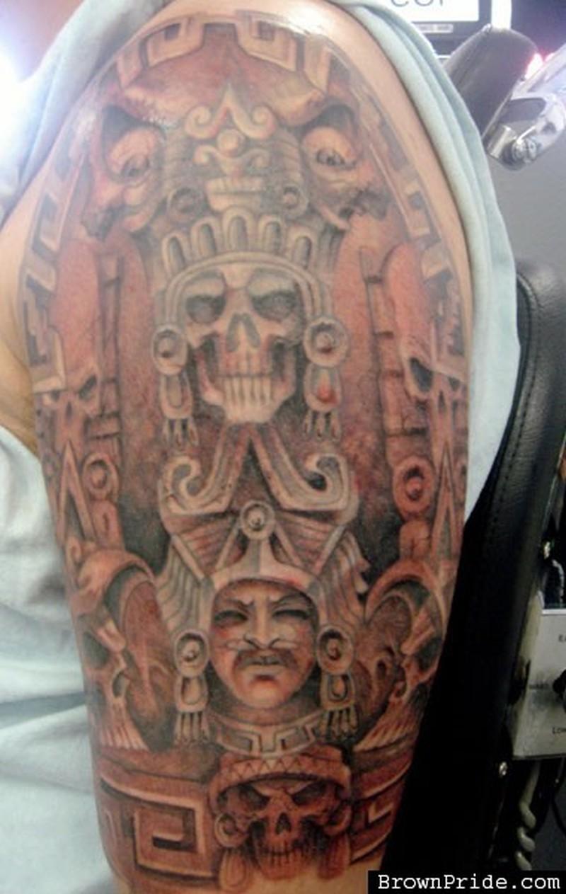 515145febcec8 Amazing half sleeve aztec tattoo design - Tattoos Book - 65.000 ...